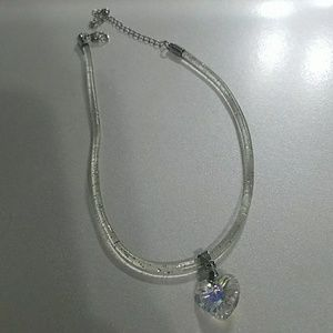 Clear sparkly choker with iridescent heart
